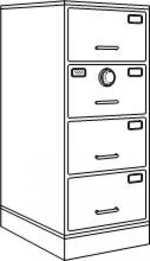 7110-01-015-4266 | Class 6, 4 Drawer File Cabinet, Black