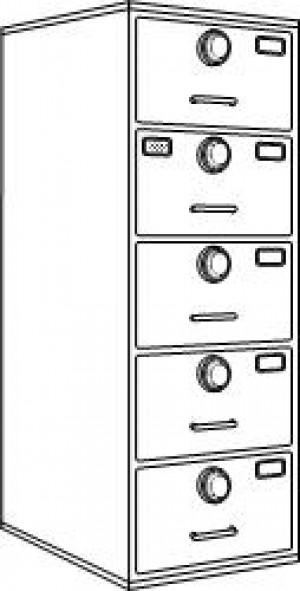7110-01-029-0389 | Class 6, 5 Drawer Multi-lock file cabinet, Gray